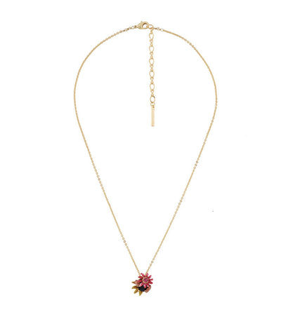 les néréides feline paws and passion flower on carved crystal long necklace