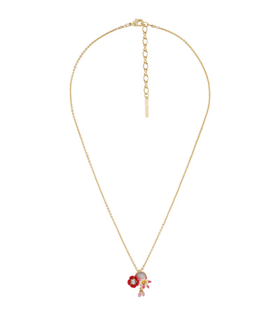 les néréides poppy, white flower and coco-plum on mother-of-pearls long necklace