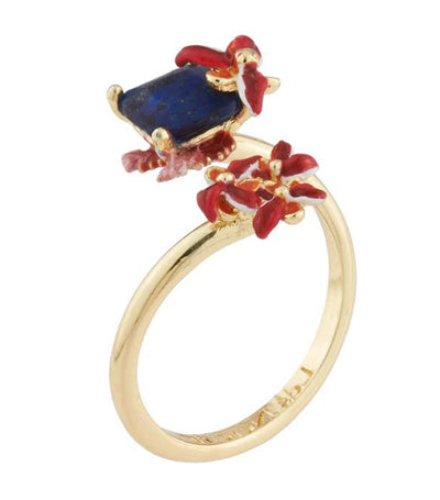 les néréides robin on its branch and carved crystal adjustable ring