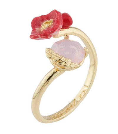 les néréides poppy and heart on carved crystal adjustable ring