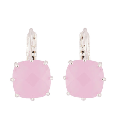 les néréides pink square stone la diamantine silver dormouse earrings