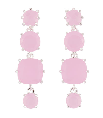 les néréides hanging la diamantine with 4 pink stones stud earrings
