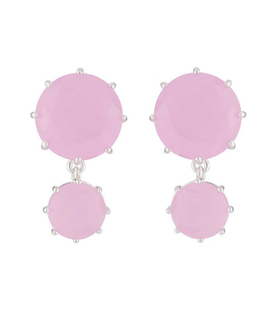 les néréides la diamantine 2 asymmetrical pink stones stud earrings