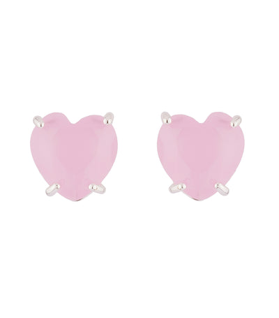 les néréides pink heart stone la diamantine stud earrings