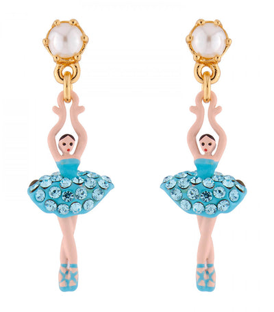 Aquamarine Stud Mini Ballerina Earrings