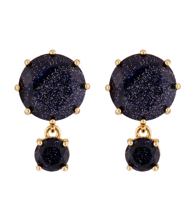 Deep Blue 2 Round Stone Earrings