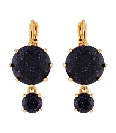 Deep Sparkling Blue Sleeper Earrings