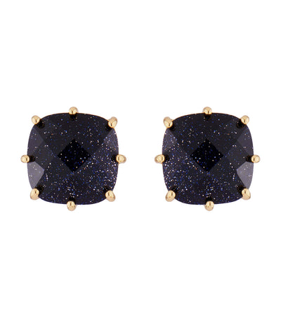 Deep Blue Square Stone Earrings