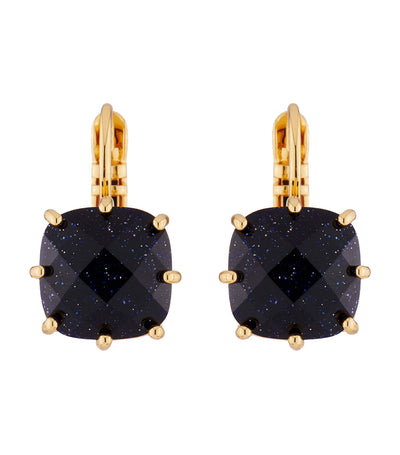 Deep Blue Square 1 Stone Earrings