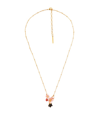 Pink Flower Dewdrop Rasberry Necklace