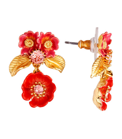 Rose Bud and Golden Leaves Earrings