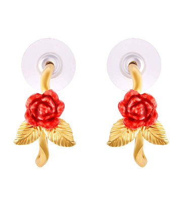 Rose Bud and Golden Creoles Earrings