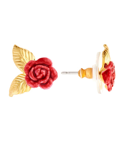 Rose Bud Golden Leaves Stud Earrings