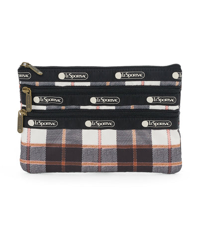 lesportsac chestnut 3-zip cosmetic bag