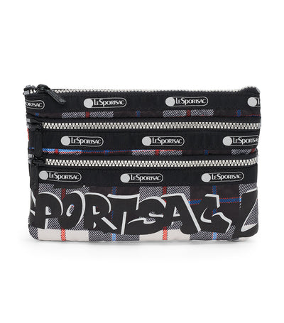Graffiti Check Silver 3-Zip Cosmetic Bag