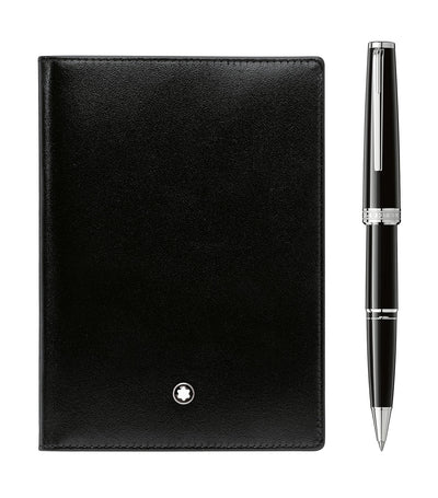 PIX Black Rollerball and Meisterstück Passport Holder Set Black