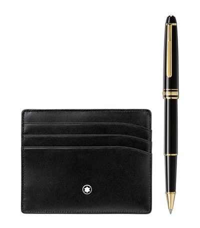 Meisterstück Gold Line Classique Rollerball and Card Holder 6cc Gift Set Black