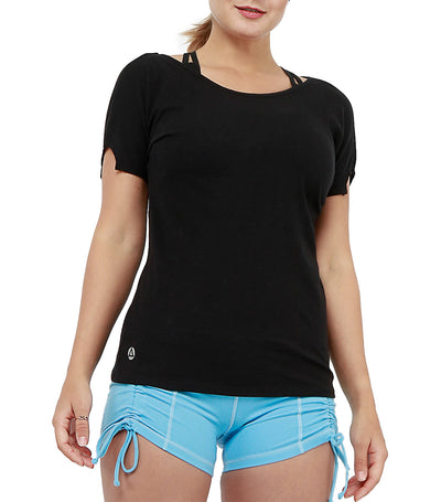 atsui morie short-sleeved layer top black