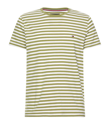 Stretch Slim Fit Tee Faded Olive/White