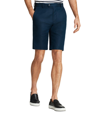 Linen and Cotton Bermuda Shorts Navy