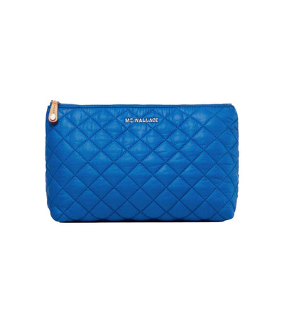 mz wallace zoey metallic cosmetic pouch tahiti blue