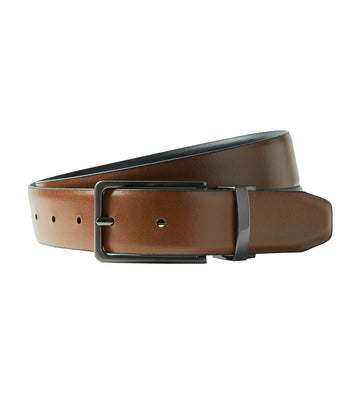 Leather Rectangular Buckle Reversible Belt Black/Brown