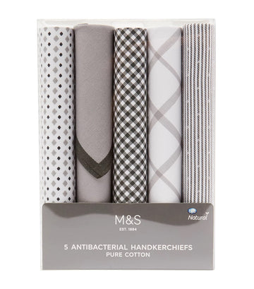 5 Pack Pure Cotton Printed Handkerchiefs Gray Mix