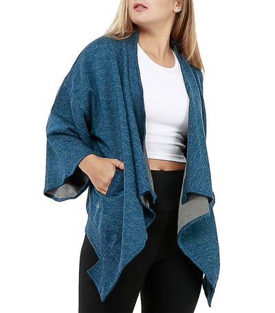 atsui nami 3/4 sleeves cover-up knitted blue
