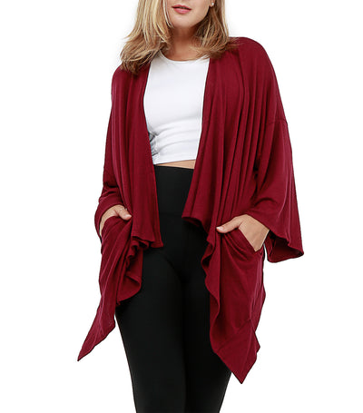 Nami 3/4 Sleeves Cover-Up Knitted Maroon