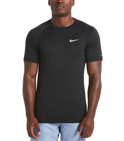 nike swim heather short sleeve hydroguard black