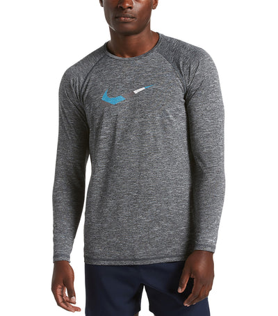 nike swim heather mash-up long sleeve hydroguard black