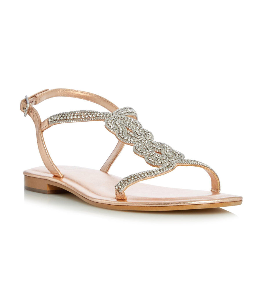 Nettys T-Bar Sandals Rose Gold