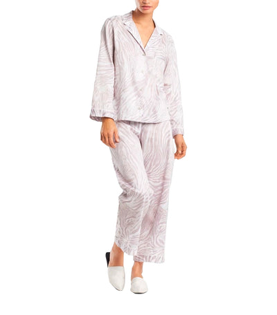 Zebra Cotton Sateen Pajama Set Silver and Pearl