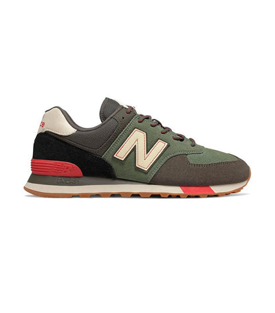new balance nb 574 classic multi-color sneakers green and red