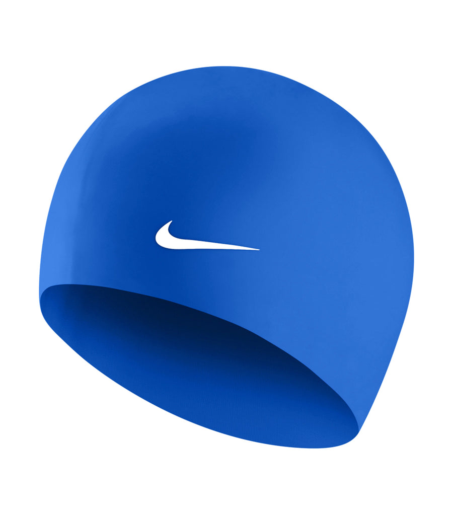 nike swim unisex solid silicone cap game royal black