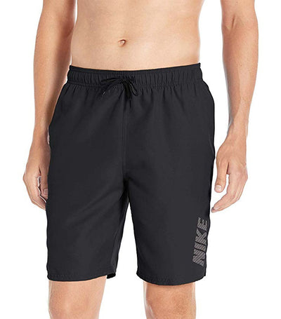 "nike swim logo solid 9"" volley shorts  black"