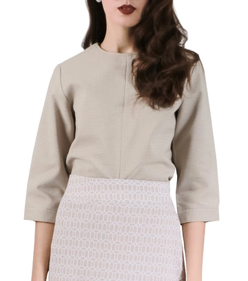 Zadie ¾ Sleeves with Front Slit Blouse Beige