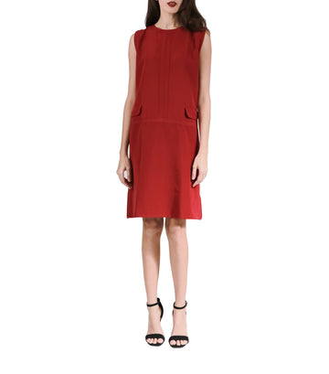 Celeste Red A-Line Dress with Front Pocket on Side Red