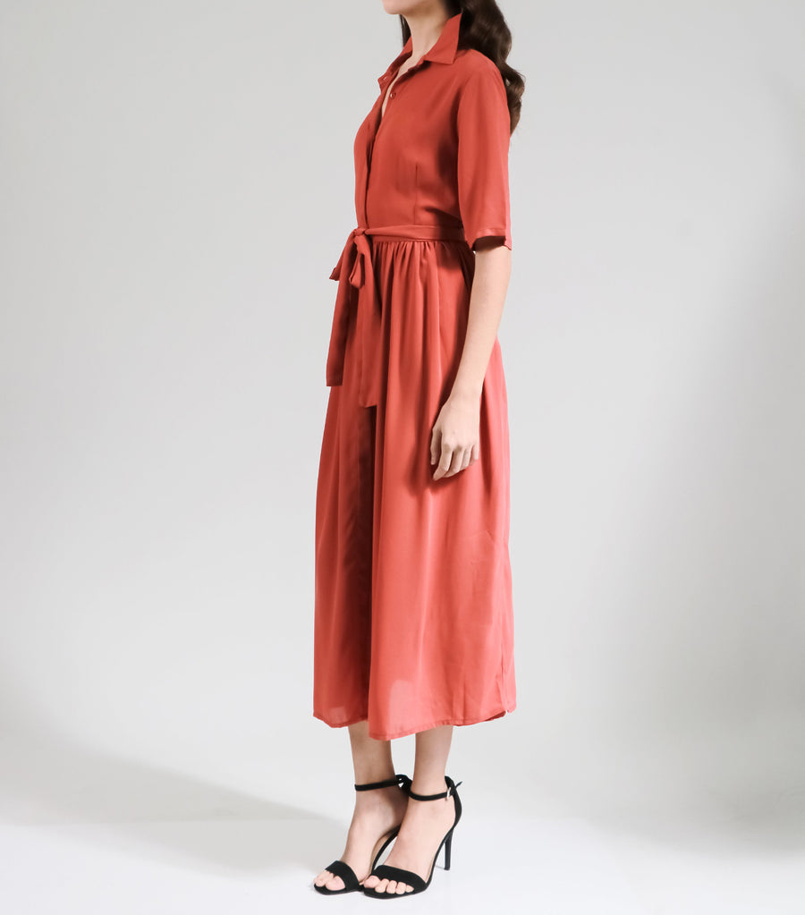 Lidwina Rust Chiffon Midi Dress with Belt Brown