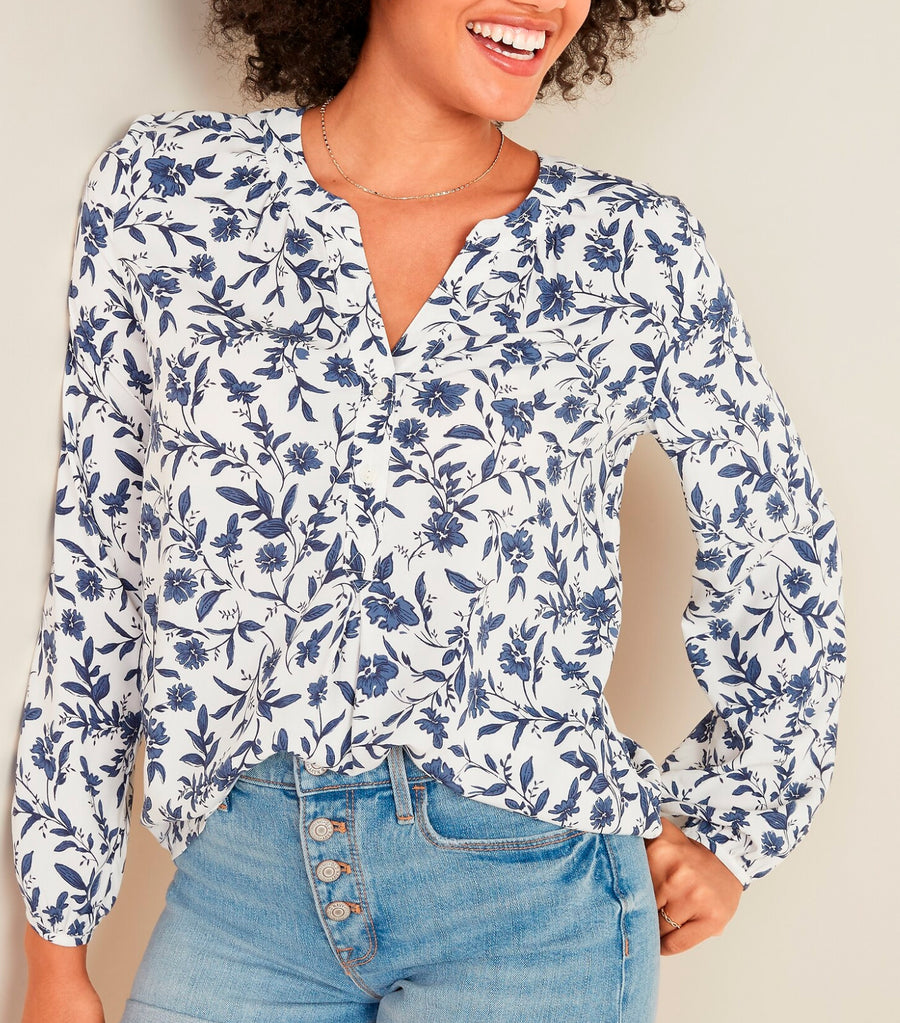 Split-Neck Popover Blouse for Women White/Blue Floral