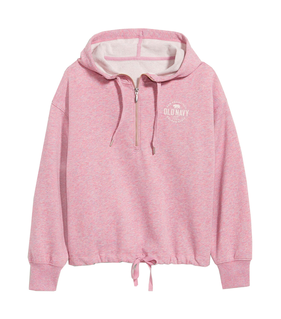 Logo-Graphic French Terry Cinched-Hem 1/2-Zip Hoodie for Women Mauve