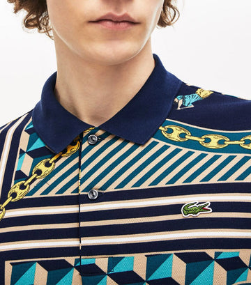 Men's Lacoste LIVE Standard Fit Scarf Print Cotton Piqué Polo Shirt Multicolor