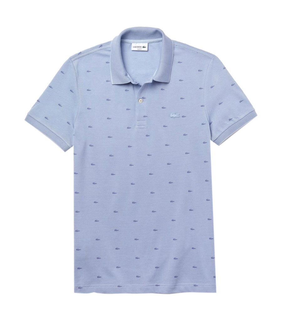 Men's Lacoste Micro Print Polo Shirt Light Blue and Purple