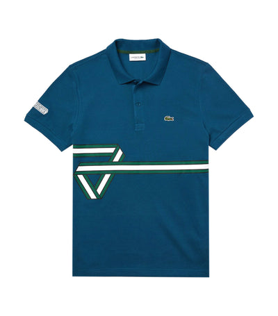 Men's Lacoste Stripe Print Polo Shirt Teal