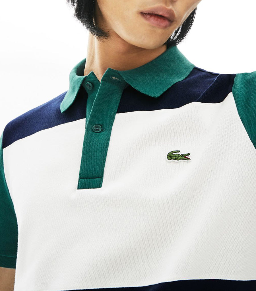 Men's Lacoste Stretch Colorblock Polo Shirt Navy Blue and White