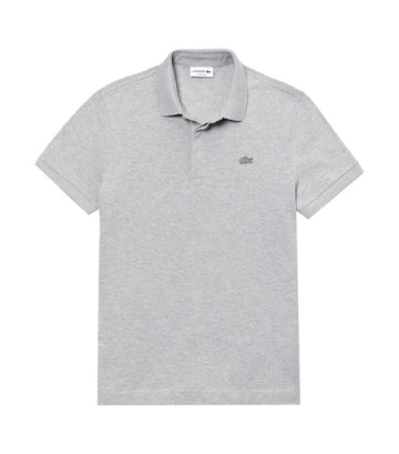 Men's Lacoste Paris Polo Shirt Regular Fit Stretch Cotton Piqué Gray