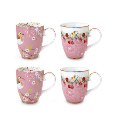 pip studio floral set 4 mugs large pink