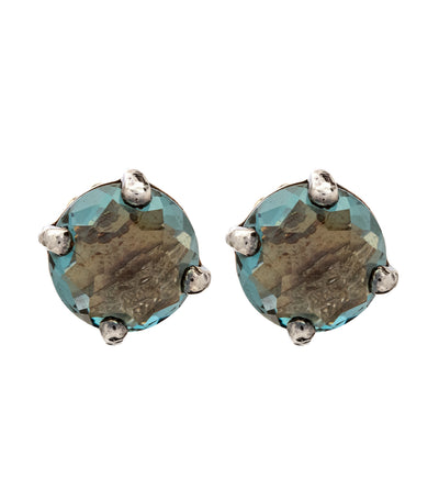 ippolita sterling silver rock candy mini stud textured london blue topaz