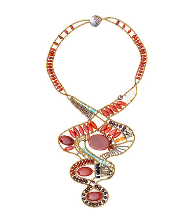 ziio large red ovale necklace