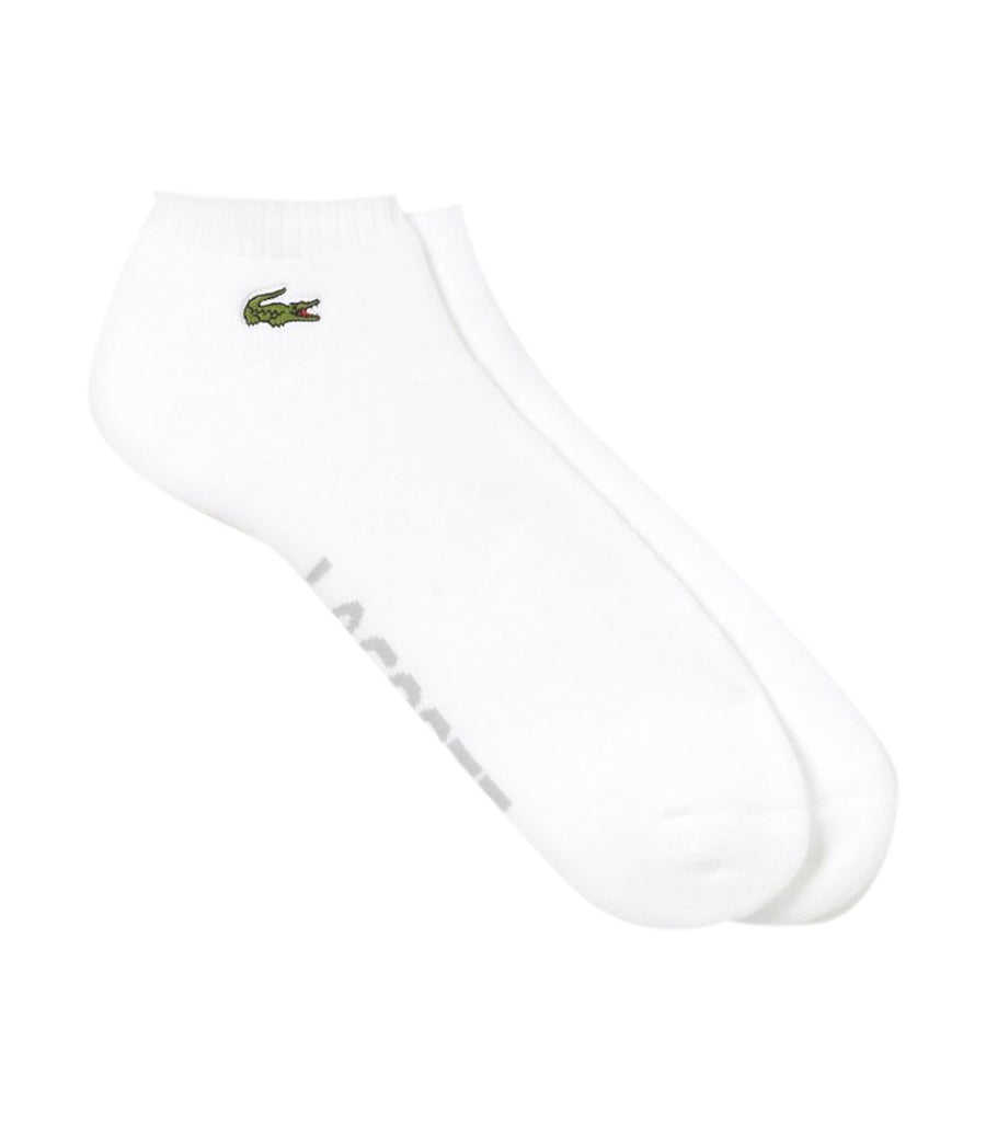 Men's Lacoste SPORT Low-Cut Socks in Solid Bouclé Jersey White and Gray